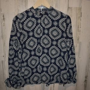 Loft Outlet  petite navy blue patterned top